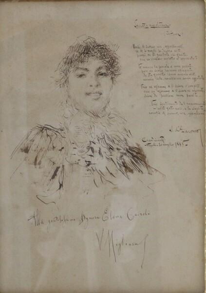68#5936 Ritratto Di Elena Cairolo Con Serenata Di Salvatore Di Giacomo in vendita - foto 2