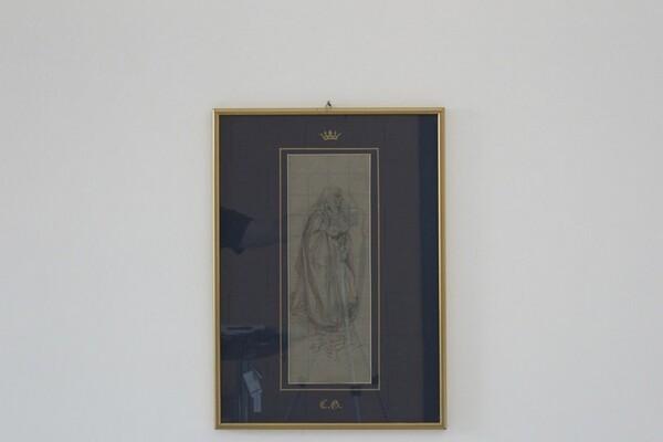 81#5936 Dipinto Figura Maschile Con Capelli Lunghi E Libro In Mano in vendita - foto 1