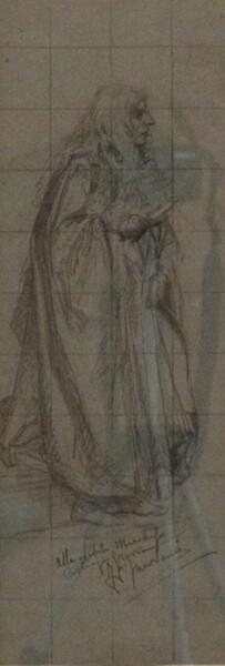 81#5936 Dipinto Figura Maschile Con Capelli Lunghi E Libro In Mano in vendita - foto 2
