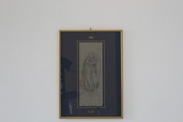 81#5936 Dipinto Figura Maschile Con Capelli Lunghi E Libro In Mano in vendita - foto 3