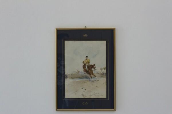 82#5936 Dipinto Corsa Di Cavalli in vendita - foto 1