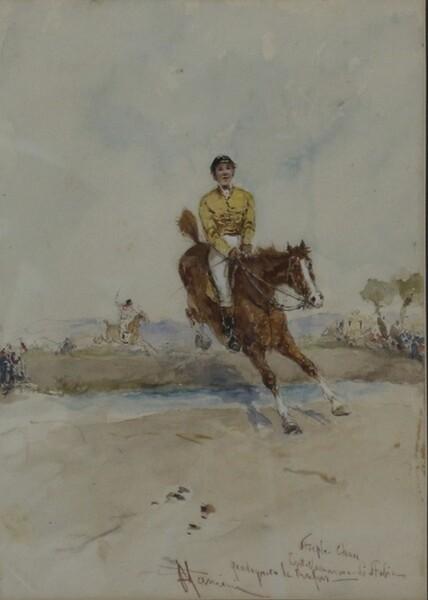 82#5936 Dipinto Corsa Di Cavalli in vendita - foto 2