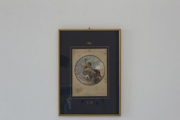 84#5936 Dipinto Figura Allegorica Con Amorini in vendita - foto 1