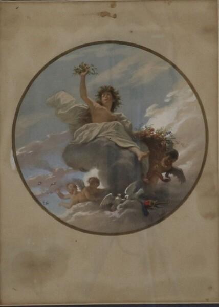 84#5936 Dipinto Figura Allegorica Con Amorini in vendita - foto 2