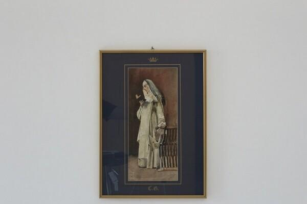 89#5936 Dipinto Monaca In Atto Di Leggere in vendita - foto 1