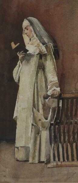 89#5936 Dipinto Monaca In Atto Di Leggere in vendita - foto 2