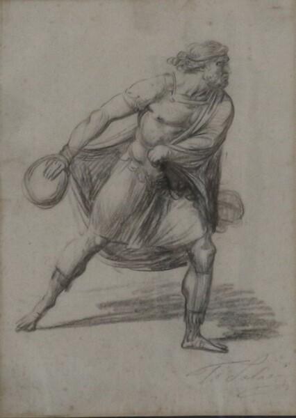 91#5936 Dipinto Figura Di Uomo In Movimento in vendita - foto 2