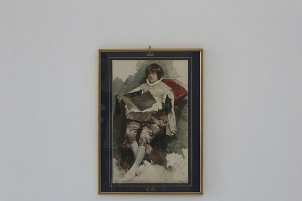 92#5936 Dipinto Paggio Seduto In Atto Di Leggere in vendita - foto 1