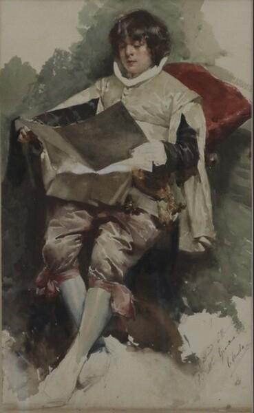 92#5936 Dipinto Paggio Seduto In Atto Di Leggere in vendita - foto 2