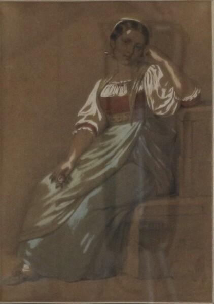96#5936 Dipinto Ritratto Di Giovane Donna In Costume in vendita - foto 2