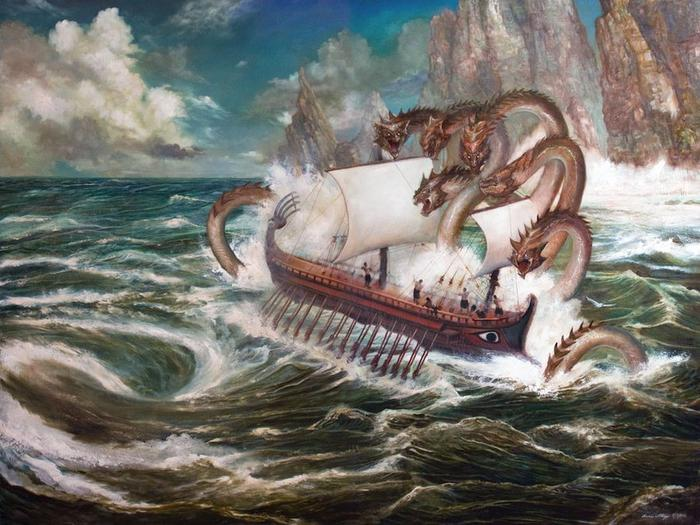 While Odysseus Is Traveling Through The Waters He Encounters Two Sea Monsters Scylla And Charybdis Spot Them Come After