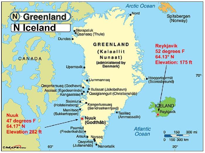 Temperature Reykjavik Iceland Vs Nuuk Greenland By Ambardel - Greenland latitude