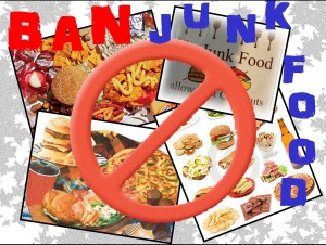why junk food should not be banned in schools I think there can be a convincing argument within the school systems (i have mixed feelings) but can you come up with any reasons why we should ban junk food, and go against a portion of the united states' values within the supermarkets, vending machines, etc i am not a fan of the government taking away consumer choice.