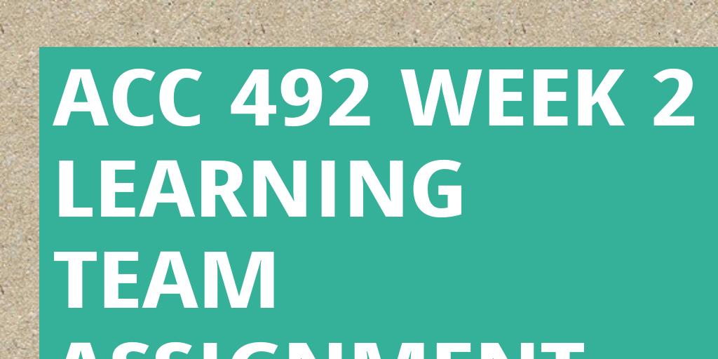 week 2 learning team