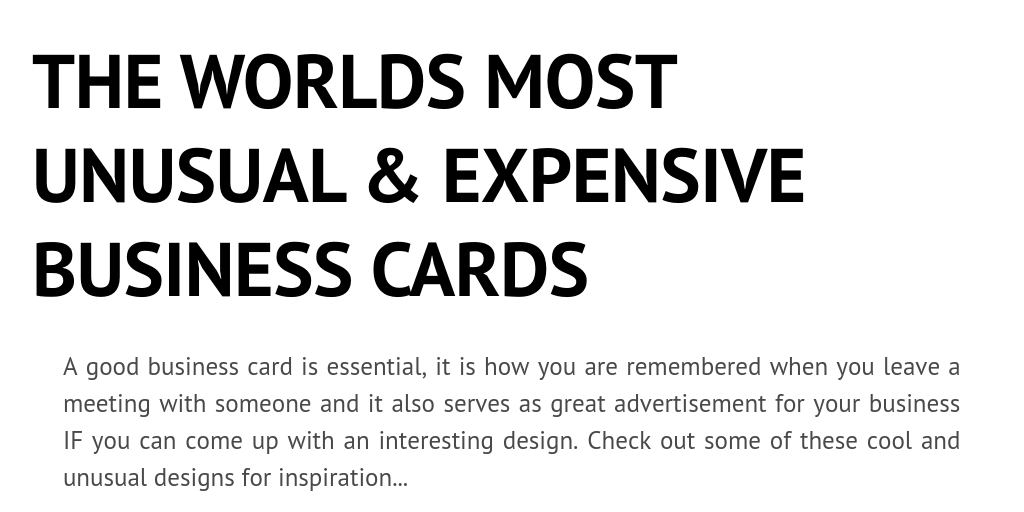 The worlds most unusual expensive business cards infogram for Most expensive business card