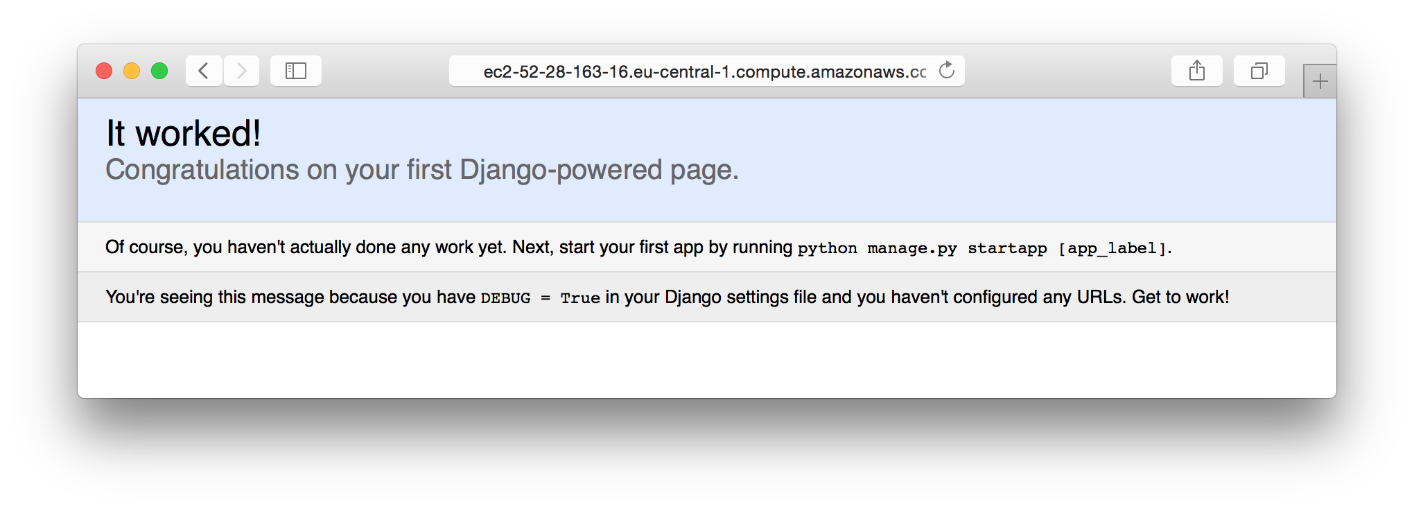 Django test page