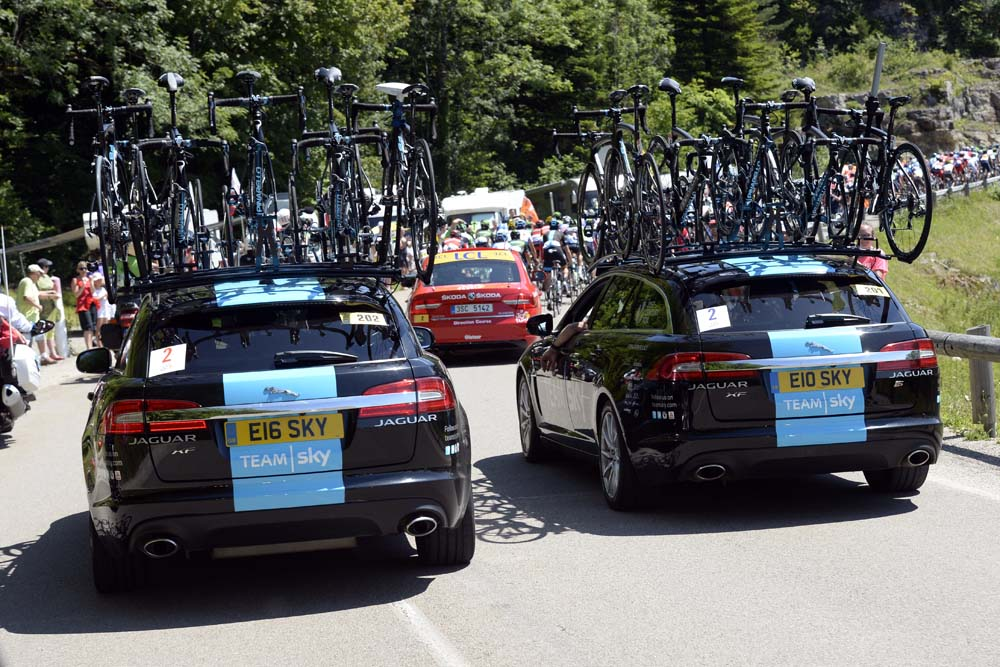 Team Sky cars on stage eleven of the 2014 Tour de France