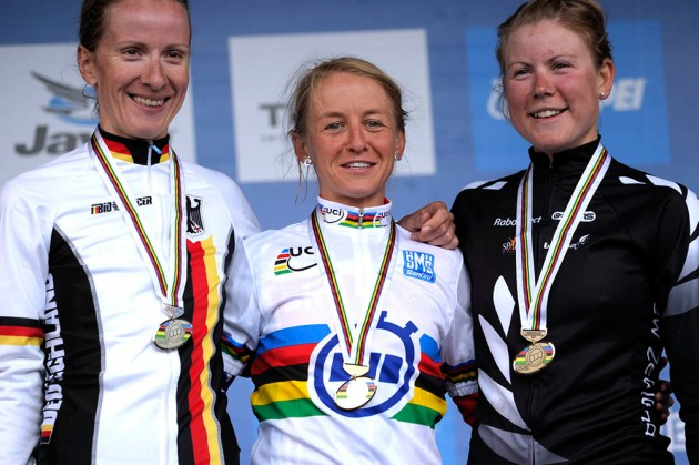 Photo: Emma Pooley (centre) became the world time trial champion for Britain in 2010.