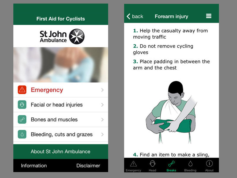 St John Ambulance first aid for cyclists app