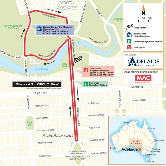 Tour Down Under 2015 stage six map
