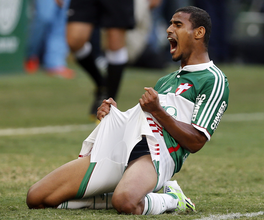 Gabriel Dias of Palmeiras reacts after losing a goal against Atletico Paranaense during their Brazilian championship soccer match in Sao Paulo
