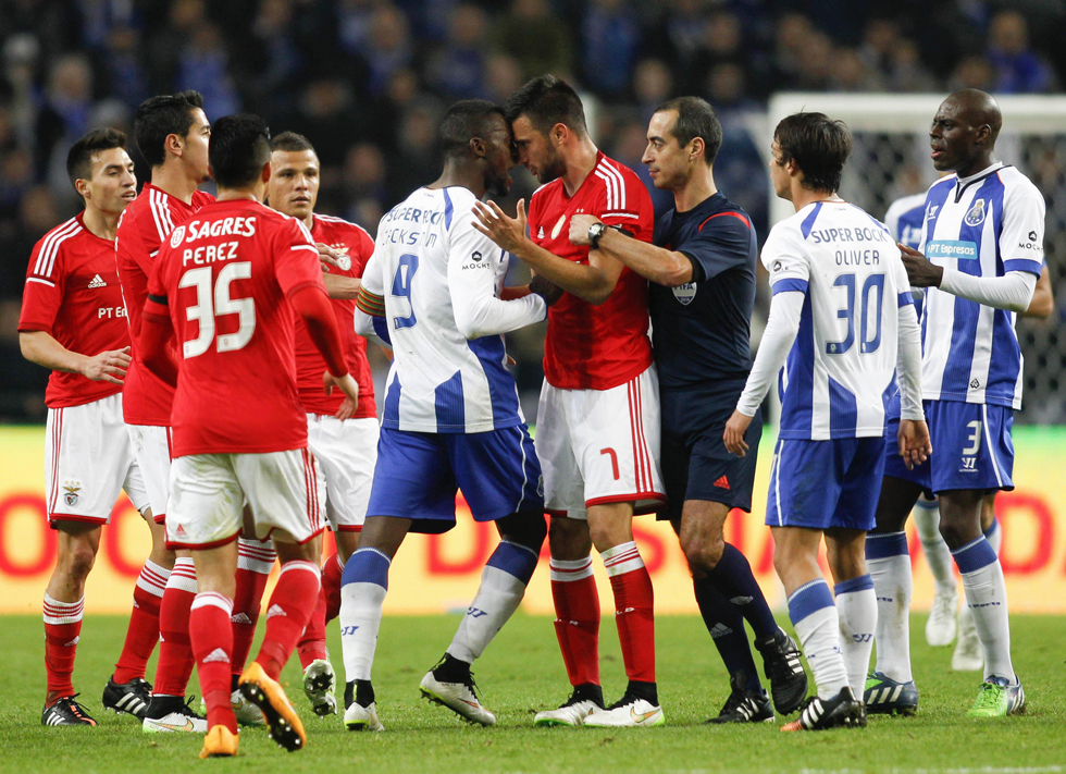 Porto's Jackson and Benfica's Samaris fight during their Portuguese Premier League soccer match at Dragao stadium in Porto