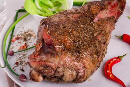 Roasted Leg Of Lamb With Golden Raisin Au Jus