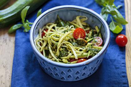 Pasta With Courgette And Fresh Tomatoes