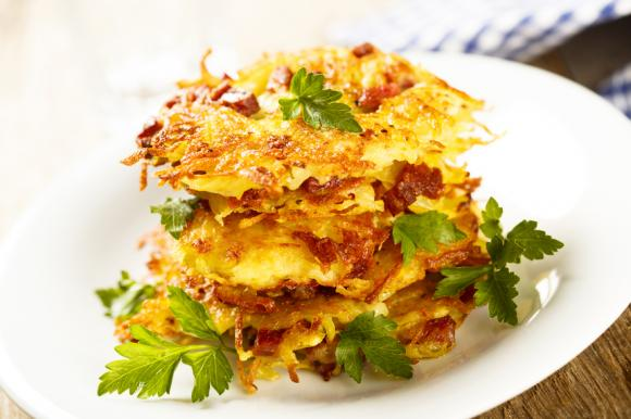 Mashed Potato Pancakes With Bacon And Onions