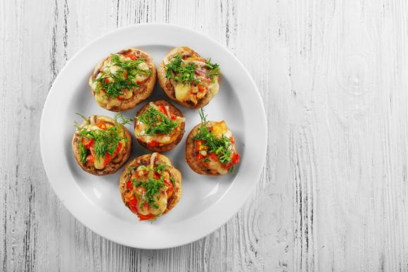 Fresh Mushrooms With Aubergine & Tomato