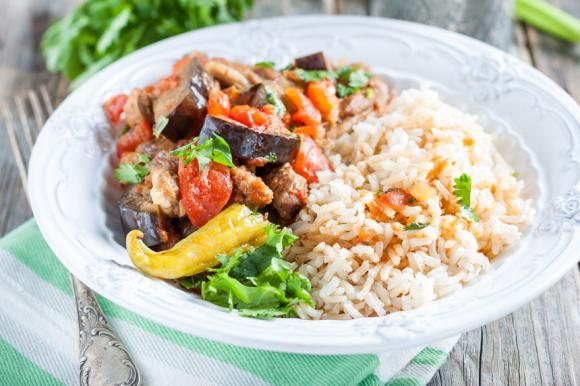 Aubergine, Lamb And Rice Casserole