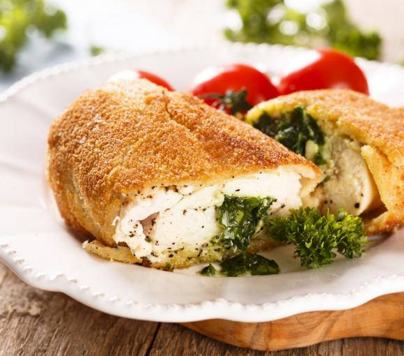 Baked Chicken Kiev And Tomatoes
