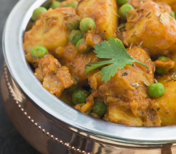 Curried Potatoes And Peas