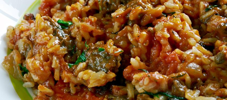 Cumin Rice With Aubergine And Peppers recipe