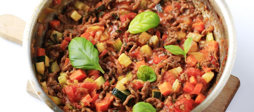 Minced Beef With Courgette And Tomato recipe