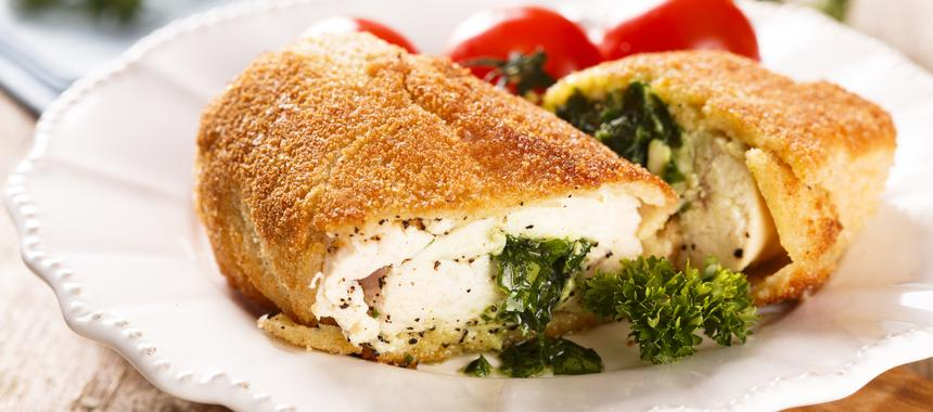 Baked Chicken Kiev And Tomatoes recipe