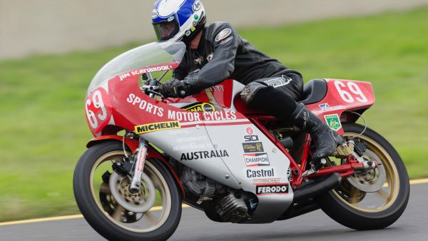 Number 69, Jim parading the famous NCR Ducati at the 2017 Festival of Speed at Eastern Creek.