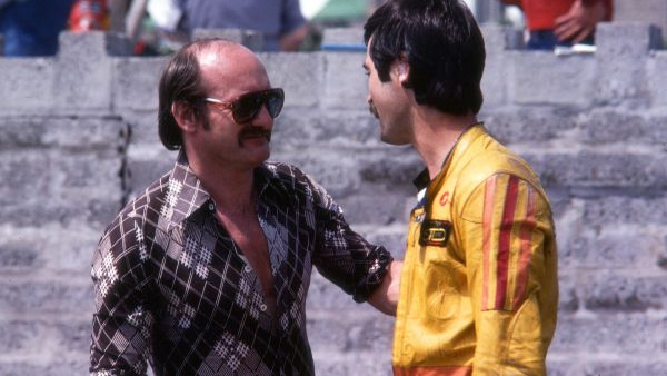 Jim pictured with Mike in Parc Ferme at the 1980 Isle of Man TT Races.