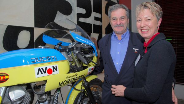 Jim and wife Sue, reunited with the Moreparts Ducati. Today, Jim and Sue are the team behind Old Bike Australasia.