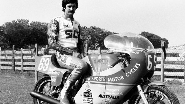 Jim pictured in the paddock at the 1978 TT on the NCR Ducati.