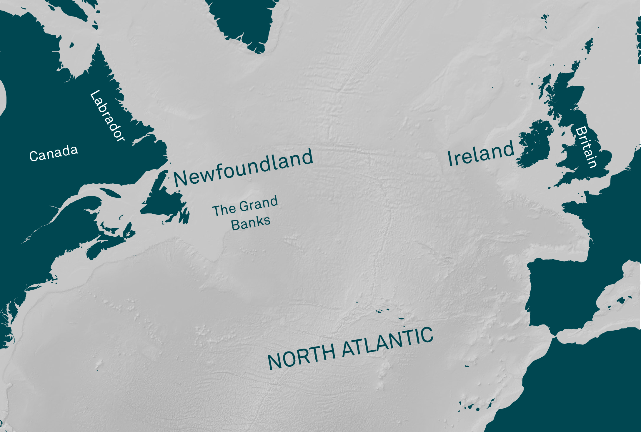 Map of Newfoundland and Ireland by Finnian Ó Cionnaith.
