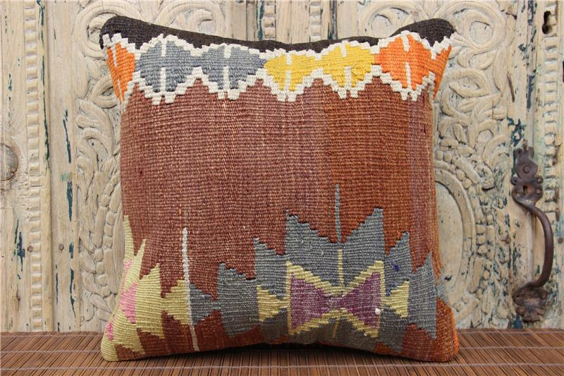 Anatolian Kilim Pillow Cover 16X16