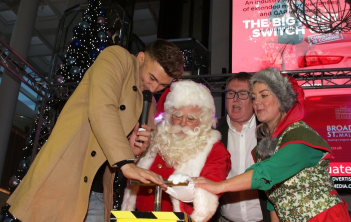 Jake Quickenden switches on at Broad Street Mall Christmas lights