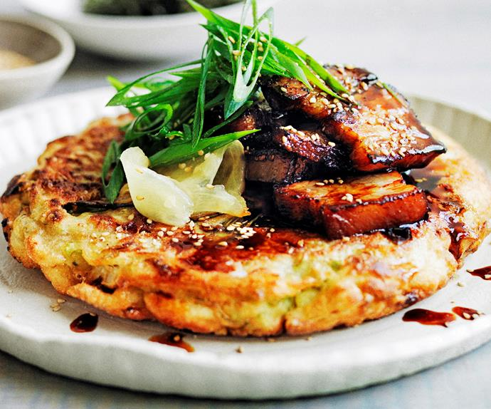 Japanese-Pancakes-with-sticky-soy-pork-belly