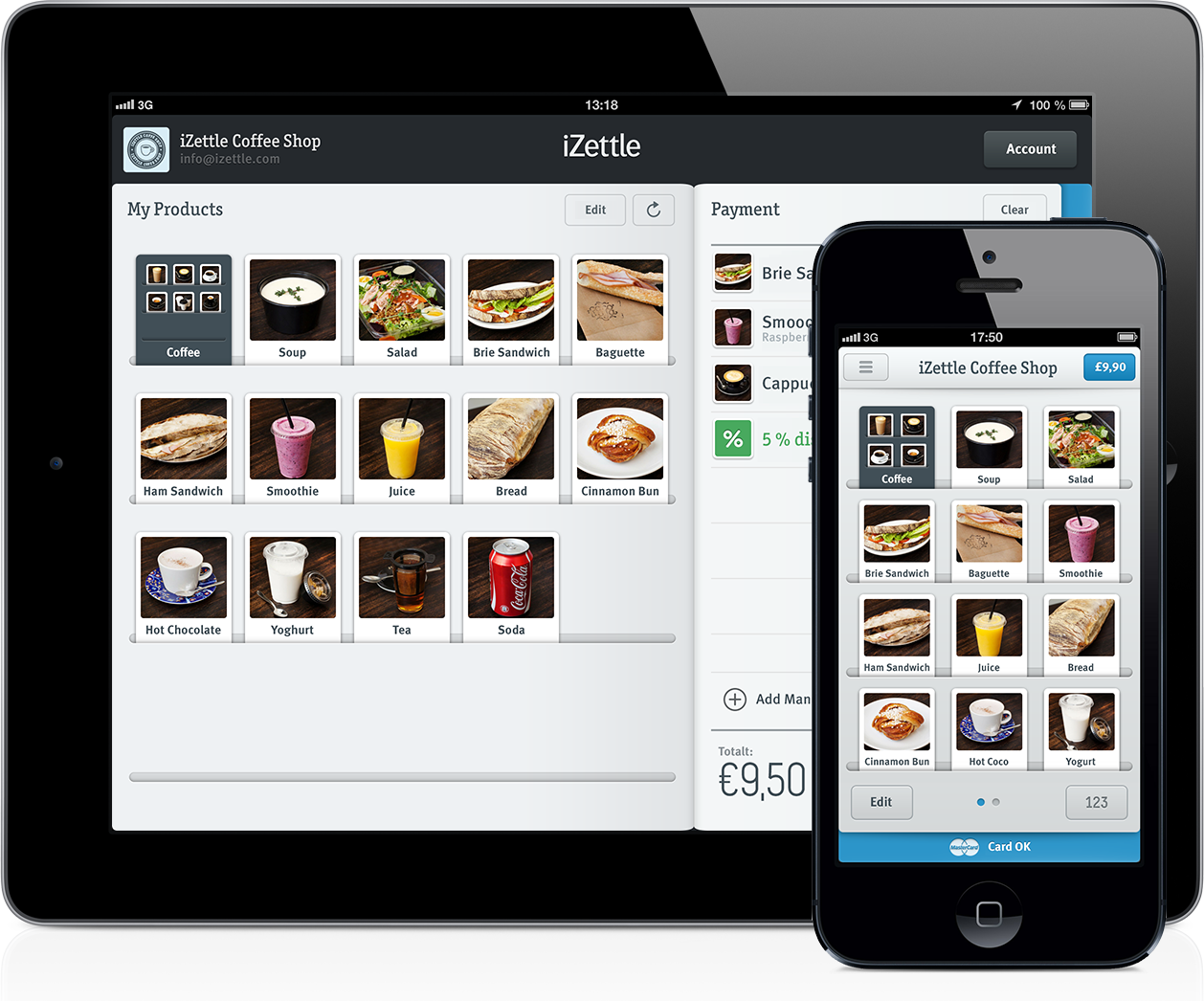iZettle 2.3 on iPad and iPhone