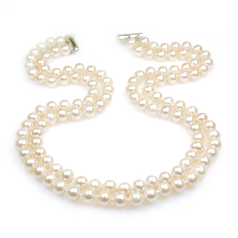 Claire double strand wedding pearl necklace