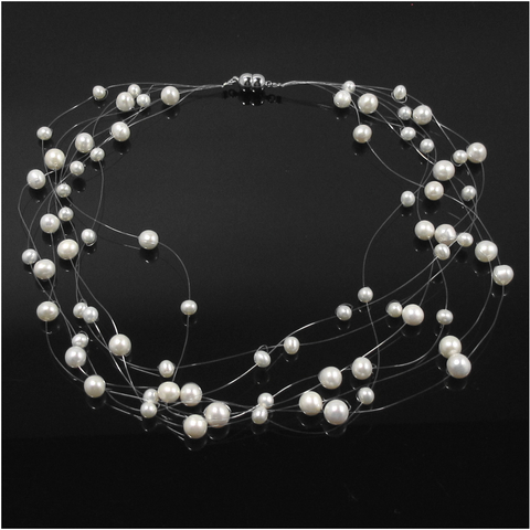 Snow Gypsophila floating pearl necklace