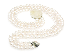 Snow white - luxurious wedding pearl necklace, treble strand top quality white pearls with white jade clasp hand carved in shape of rose