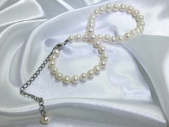 single strand pearl choker, short pearl necklace, wedding pearl necklace