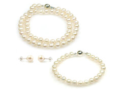 Angelina princess pearl jewellery set, single strand necklace and bracelet and simple ear studs